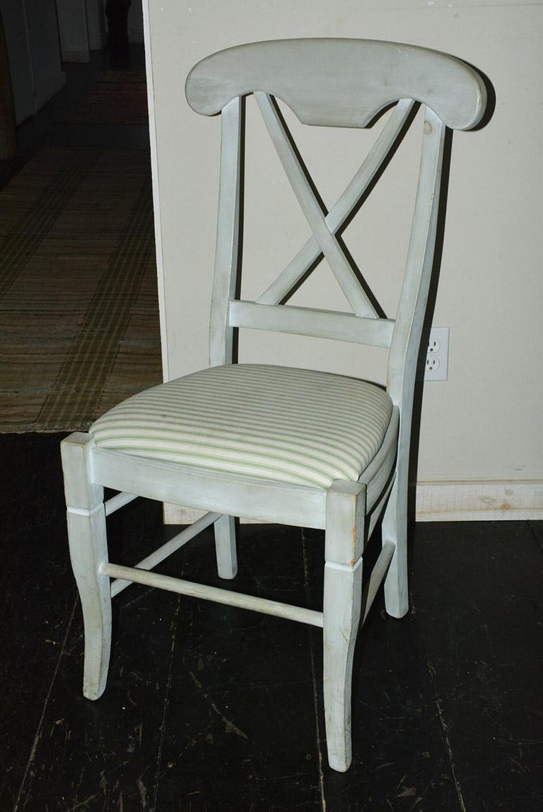 Hand-Painted Set of 6 Contemporary Hand Painted Dining Chairs For Sale