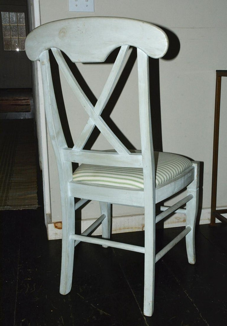 Set of 6 Contemporary Hand Painted Dining Chairs In Good Condition For Sale In Great Barrington, MA