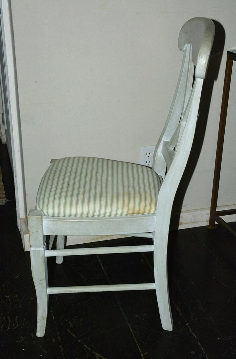 Wood Set of 6 Contemporary Hand Painted Dining Chairs For Sale