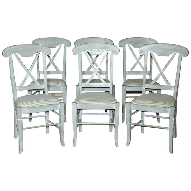 Set of 6 Contemporary Hand Painted Dining Chairs For Sale
