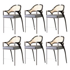 Set of 6 Contemporary Polished Chrome Rattan Counter Stools Hand Lacquered