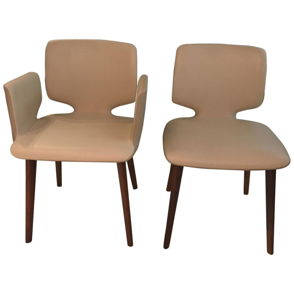 Set Of 6 Contemporary White U0026 Taupe Leather Dining Chairs With Walnut Wood  Legs