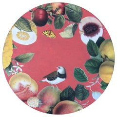 Set of 6 Coral Ground Handmade Decoupage Round Place Mats