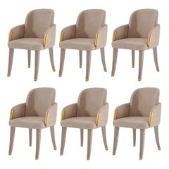 Set of 6 Couture Dining Chairs, Grey Beige Oak/Plated Gold