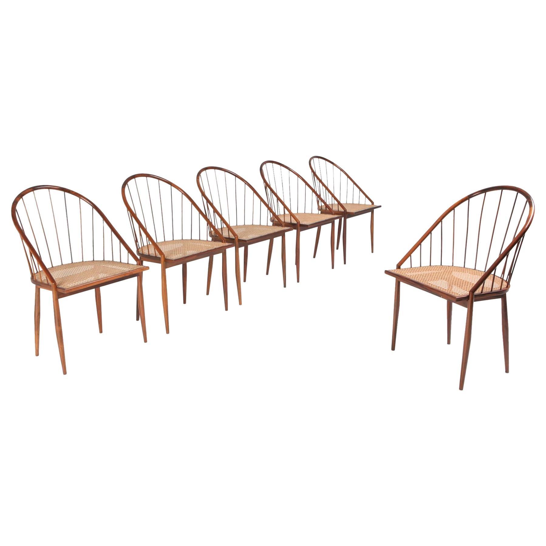 Set of 6 Curva Dining Chairs by Joaquim Tenreiro
