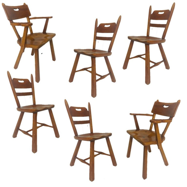 Set of 6 Cushman Vermont Rock Maple Dining Chairs Designed by Herman DeVries For Sale 5