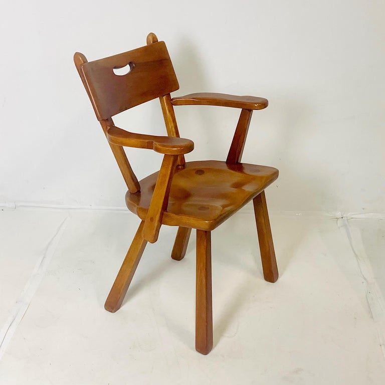 American Craftsman Set of 6 Cushman Vermont Rock Maple Dining Chairs Designed by Herman DeVries For Sale