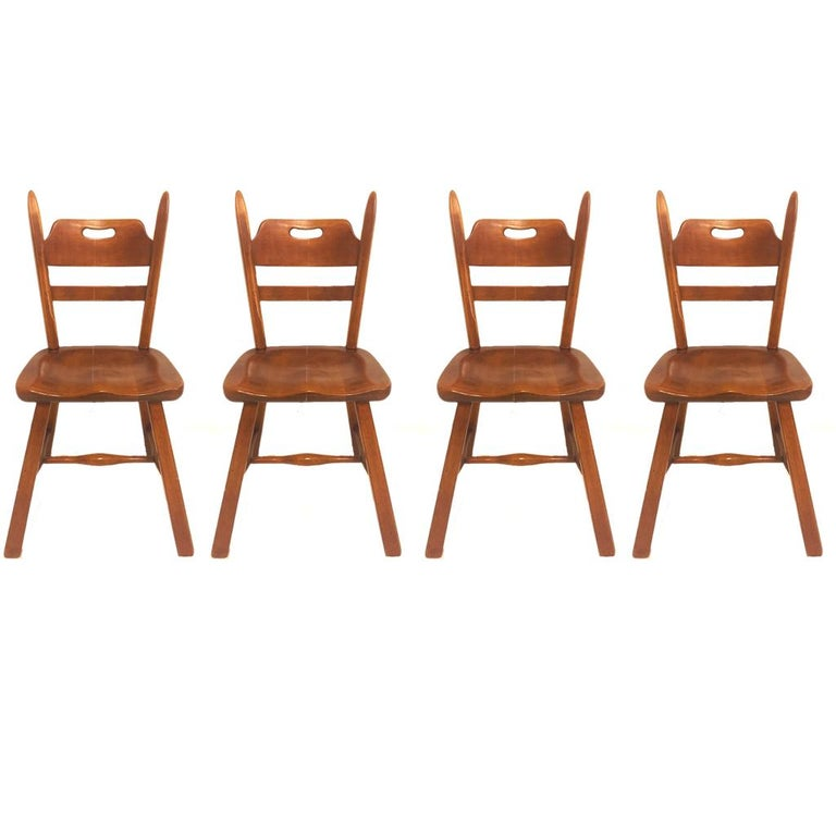 American Set of 6 Cushman Vermont Rock Maple Dining Chairs Designed by Herman DeVries For Sale