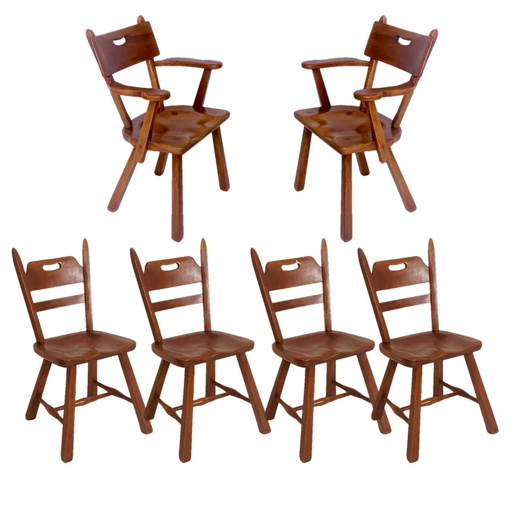 Set of 6 Cushman Vermont Rock Maple Dining Chairs Designed by Herman DeVries