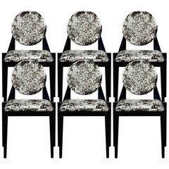Set of 6 Custom Art Deco Inspired Black Dining Chairs by Carrocel