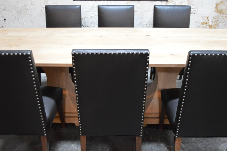 Set of 6 Custom Leather Vaughn Dining Chairs by Bjork Studio For Sale 3