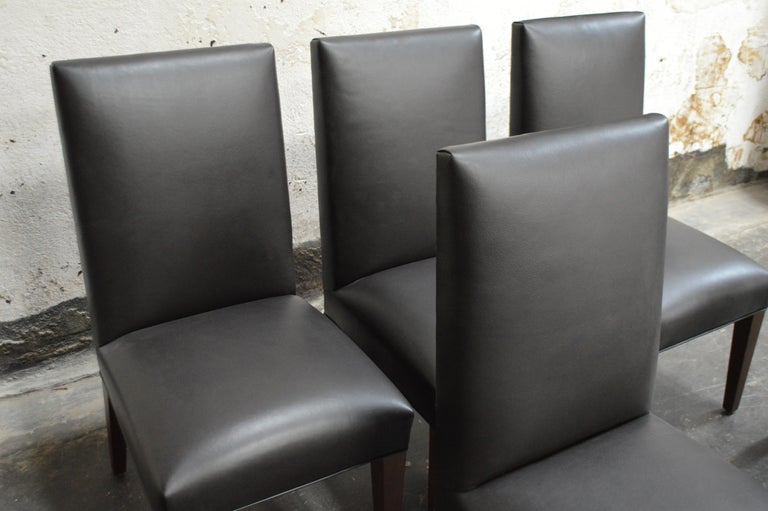 Industrial Set of 6 Custom Leather Vaughn Dining Chairs by Bjork Studio For Sale