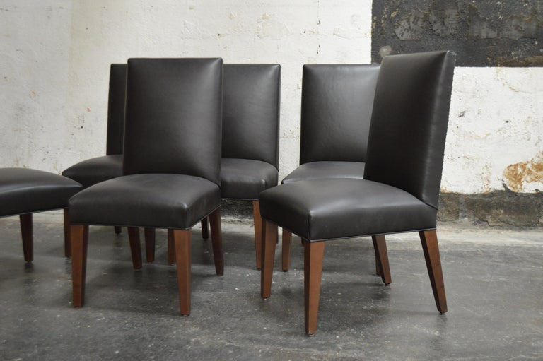 American Set of 6 Custom Leather Vaughn Dining Chairs by Bjork Studio For Sale