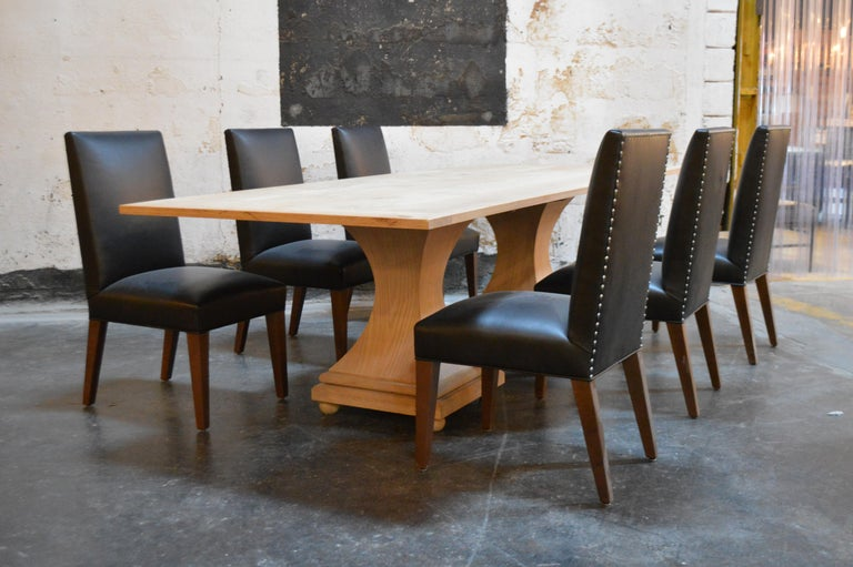 Set of 6 Custom Leather Vaughn Dining Chairs by Bjork Studio In Good Condition For Sale In Atlanta, GA