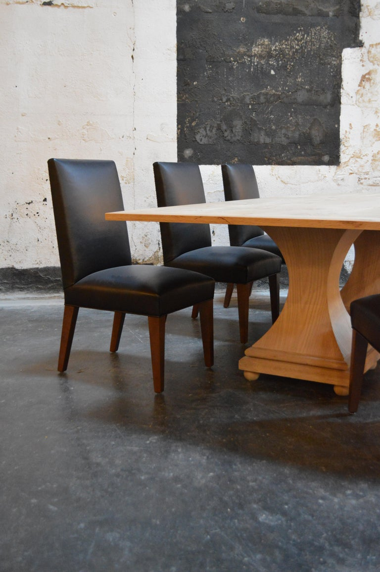 Contemporary Set of 6 Custom Leather Vaughn Dining Chairs by Bjork Studio For Sale