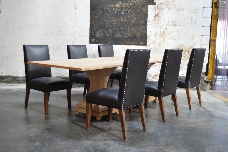 Wood Set of 6 Custom Leather Vaughn Dining Chairs by Bjork Studio For Sale