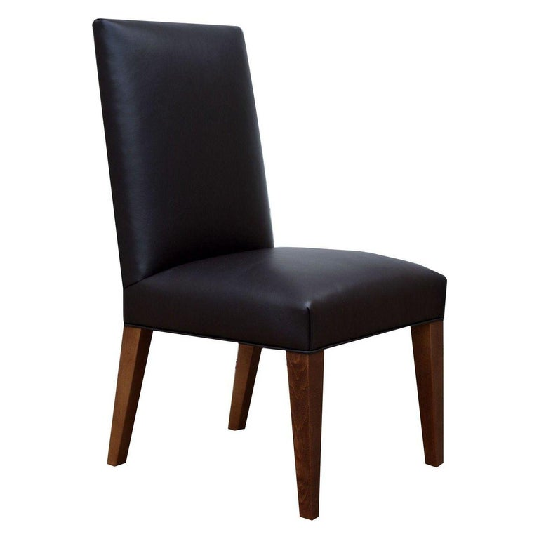 Set of 6 Custom Leather Vaughn Dining Chairs by Bjork Studio For Sale 1