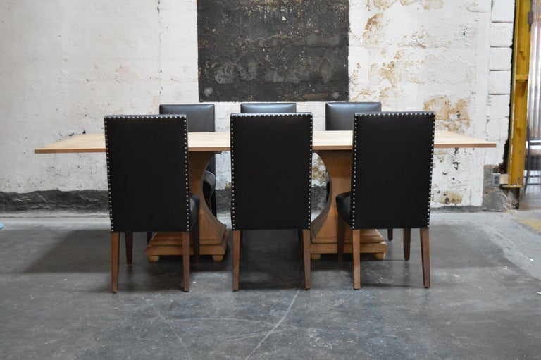 Set of 6 Custom Leather Vaughn Dining Chairs by Bjork Studio For Sale 2