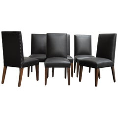 Set of 6 Custom Leather Vaughn Dining Chairs by Bjork Studio