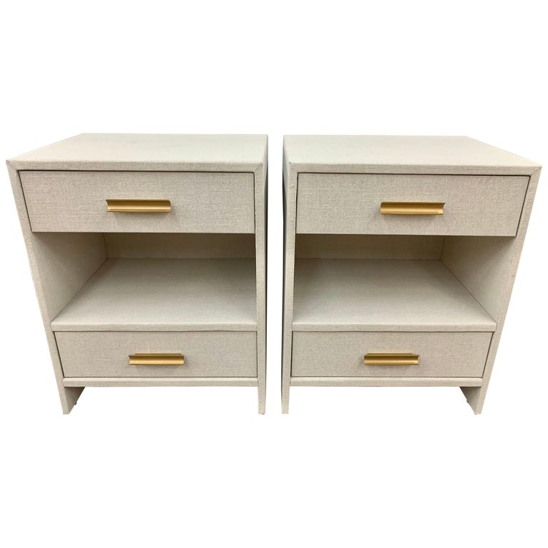 Set of 6 Custom Linen Wrapped Two-Drawer Nightstands End Tables For Sale