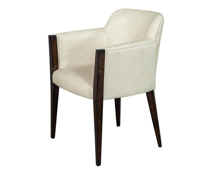 Canadian Set of 6 Custom Modern Leather Dining Chairs by Carrocel For Sale