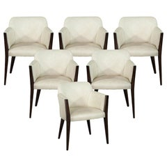 Set of 6 Custom Modern Leather Dining Chairs by Carrocel