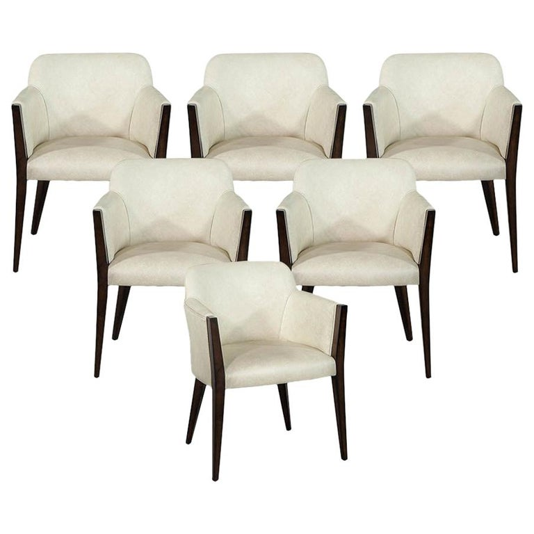 Set of 6 Custom Modern Leather Dining Chairs by Carrocel For Sale