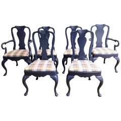 Set of 6 Custom Queen Anne Style Dining Chairs