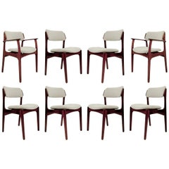 Set of 6 Danish Chairs and 2 Armchairs by Erik Buch, 1960s