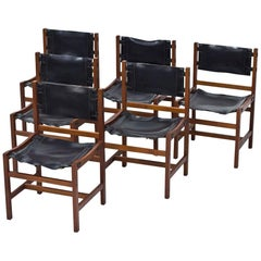 Set of 6 Danish Chairs in Teak and Saddle Leather