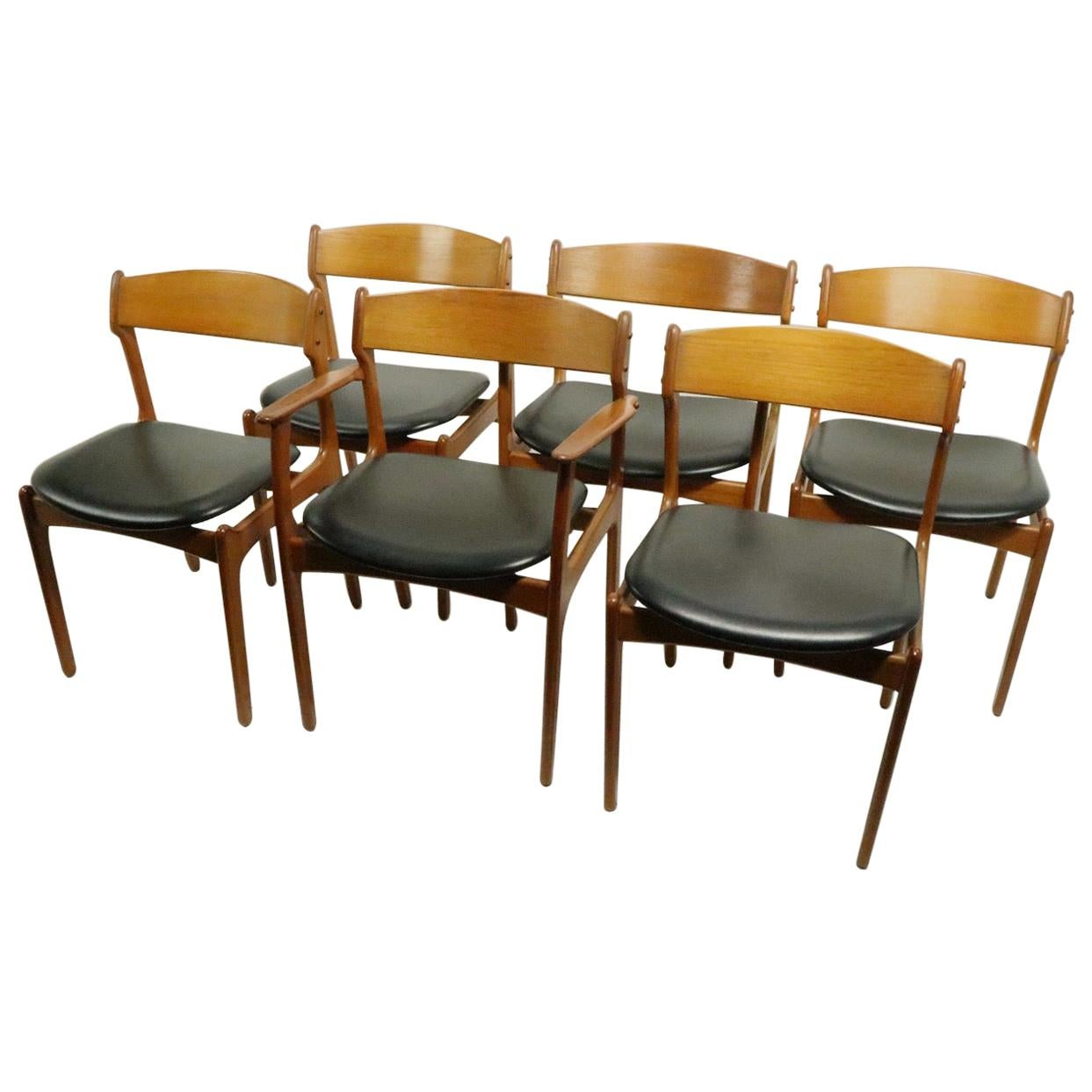 Set of 6 Danish Dining Chairs by Erik Buch for Oddense Maskinsnedkeri