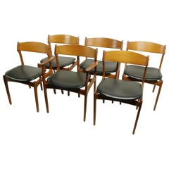 Set of 6 Danish Dining Chairs by Erik Buch for Oddense Maskinsnedkeri