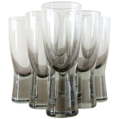 Set of 6 Danish Holmegaard Canada Smoked Glass Glasses by Per Lutken