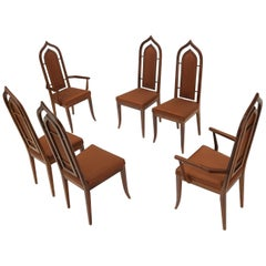 Set of 6 Danish Mid-Century Modern Dining Chairs Dome Shape Back Oiled Walnut