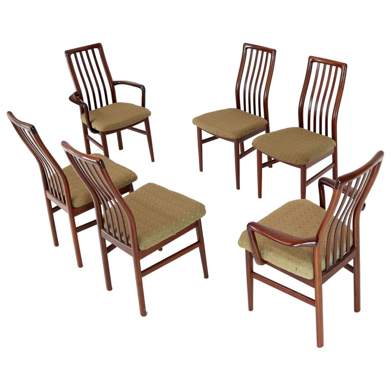 Set Of 6 Danish Mid Century Modern Rosewood Dining Chairs Two Armchairs