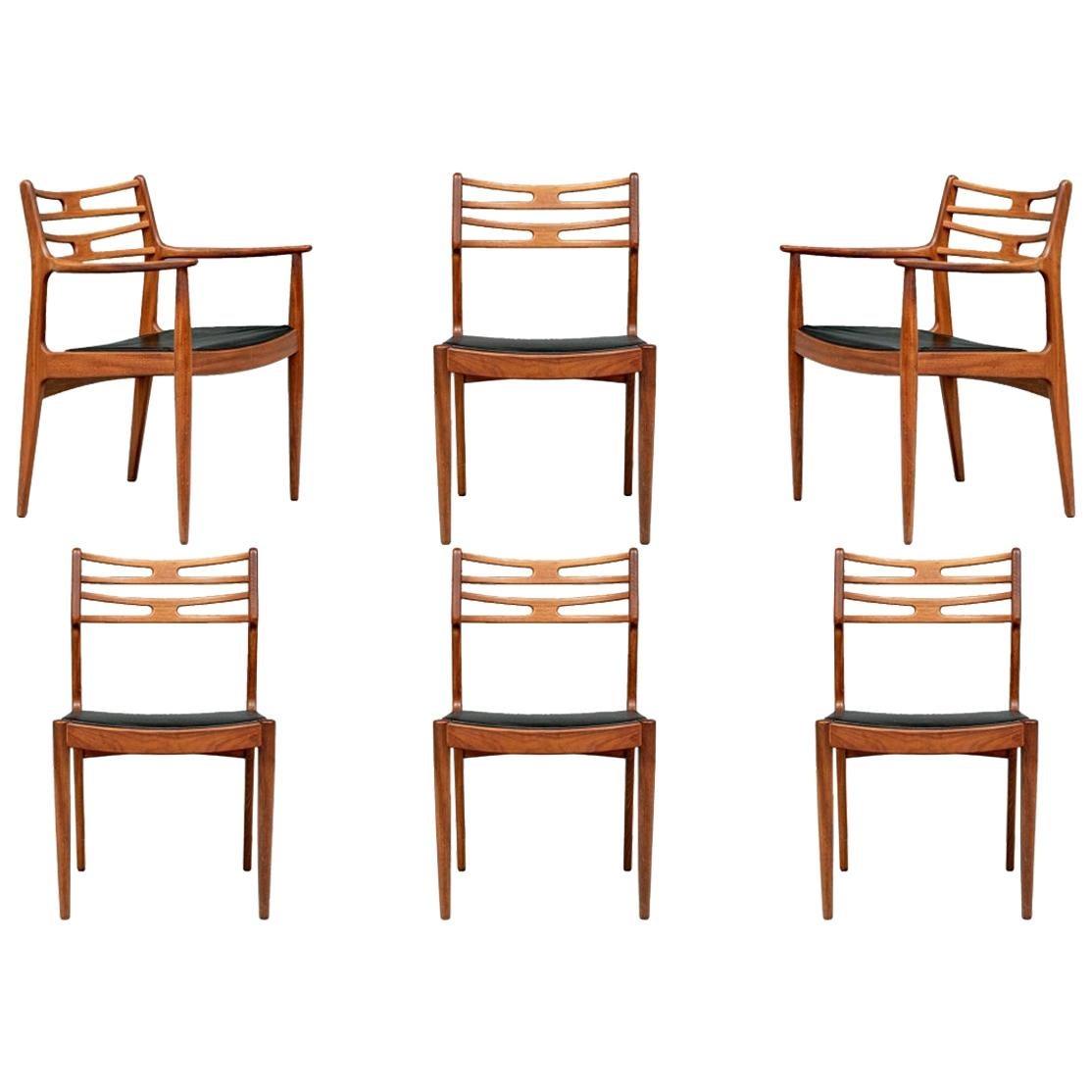 Set of 6 Danish Midcentury Teak Dining Chairs
