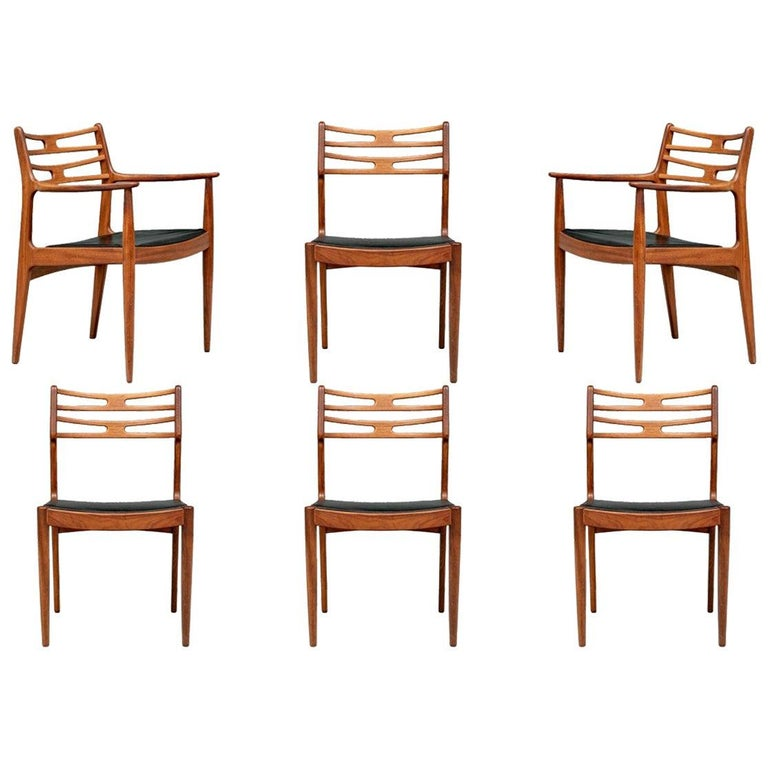 Set of 6 Danish Midcentury Teak Dining Chairs For Sale