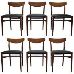 Set of 6 Danish Modern Design Dining Room Chairs, 1960