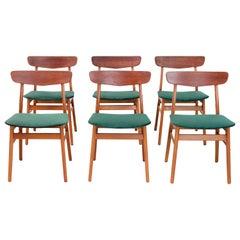 Set of 6 Danish Modern Dining Chairs by Farstrup in Teak and Green Velvet, 1960s