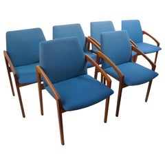 Set of 6 Danish Modern Dining Chairs by Henning Kjernaulf for Korup Stolefabrik