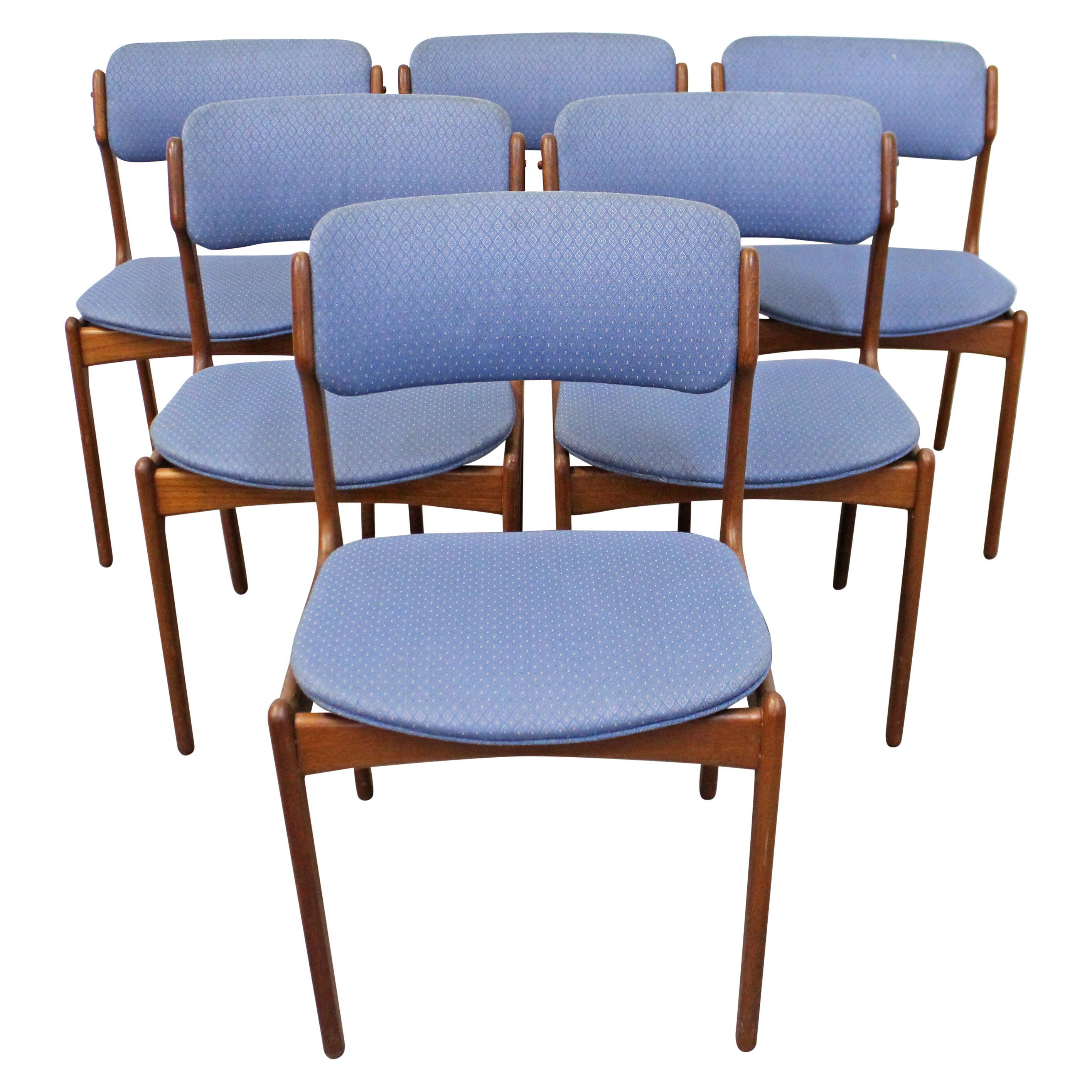 Set of 6 Danish Modern Erik Buch for O.D. Mobler Teak Dining Chairs