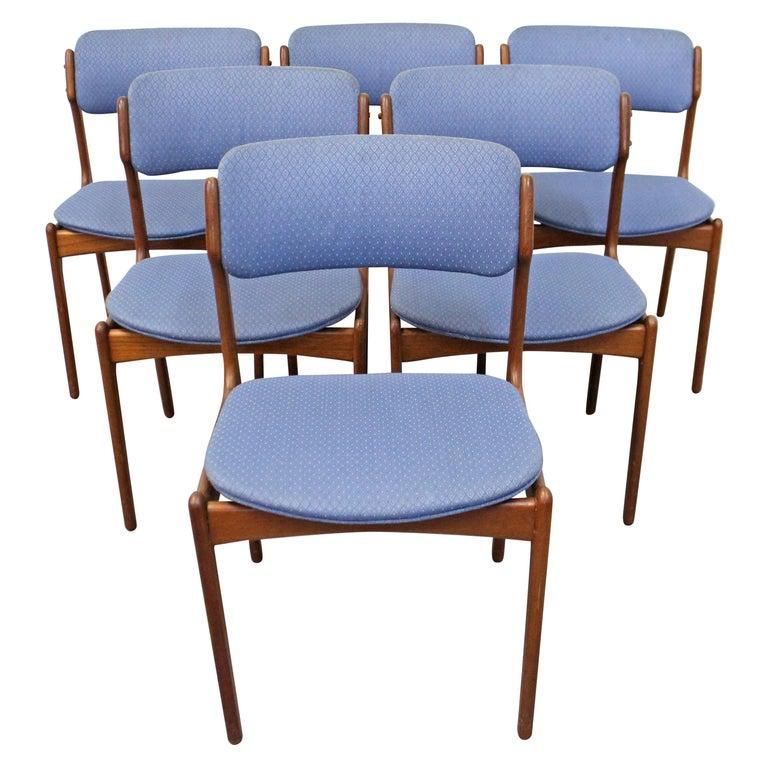 Set of 6 Danish Modern Erik Buch for O.D. Mobler Teak Dining Chairs For Sale