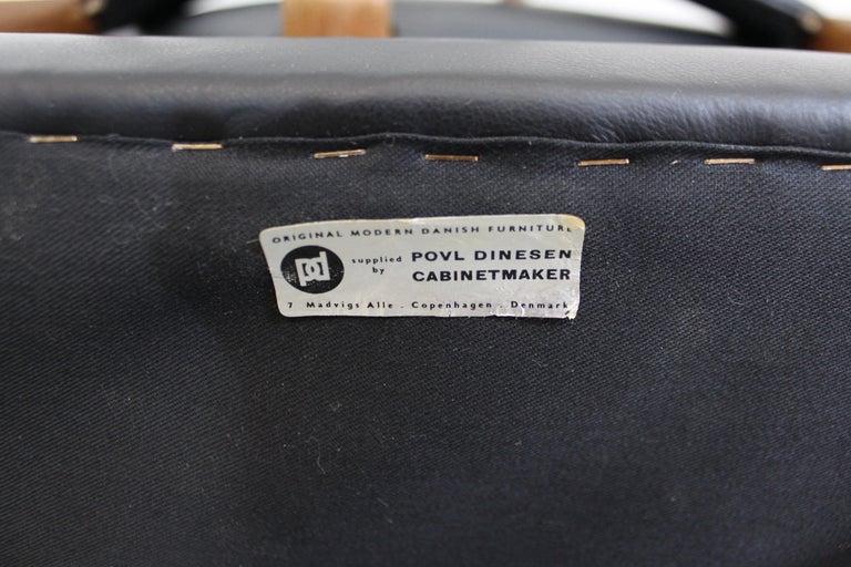 Set of 6 Danish Modern Povl Dinesen Teak/Leather Dining Chairs For Sale 6