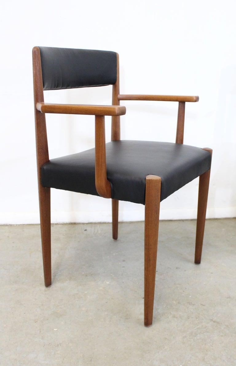 Scandinavian Modern Set of 6 Danish Modern Povl Dinesen Teak/Leather Dining Chairs For Sale
