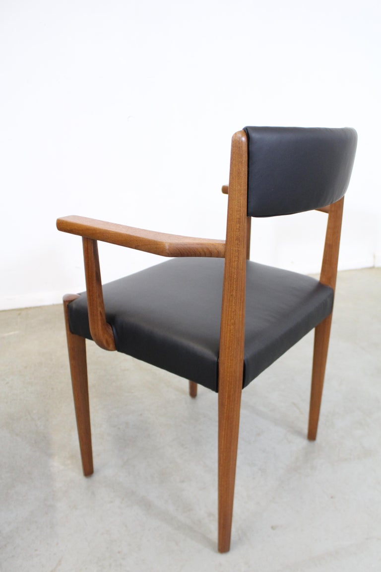 Set of 6 Danish Modern Povl Dinesen Teak/Leather Dining Chairs In Good Condition For Sale In Wilmington, DE