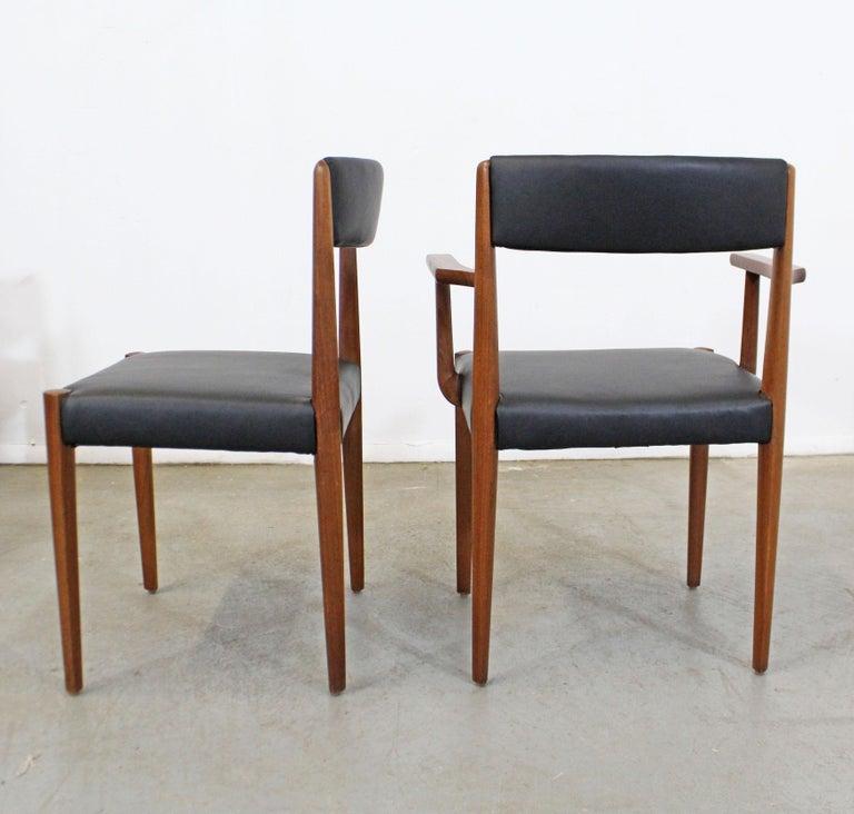 20th Century Set of 6 Danish Modern Povl Dinesen Teak/Leather Dining Chairs For Sale