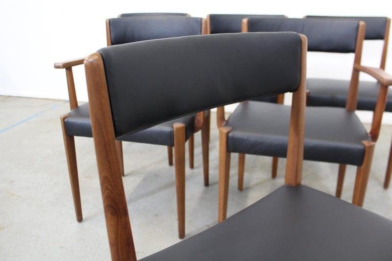 Set of 6 Danish Modern Povl Dinesen Teak/Leather Dining Chairs For Sale 1