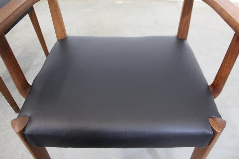 Set of 6 Danish Modern Povl Dinesen Teak/Leather Dining Chairs For Sale 2