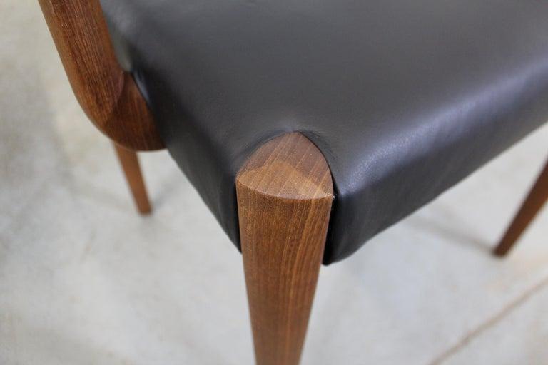 Set of 6 Danish Modern Povl Dinesen Teak/Leather Dining Chairs For Sale 3