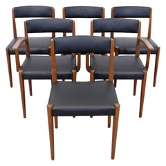 Set of 6 Danish Modern Povl Dinesen Teak/Leather Dining Chairs